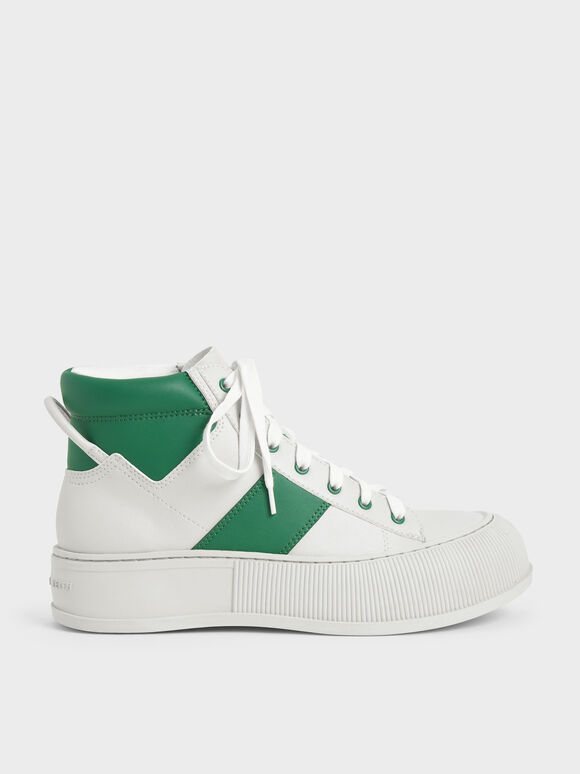 Two-Tone High-Top Sneakers, Green, hi-res