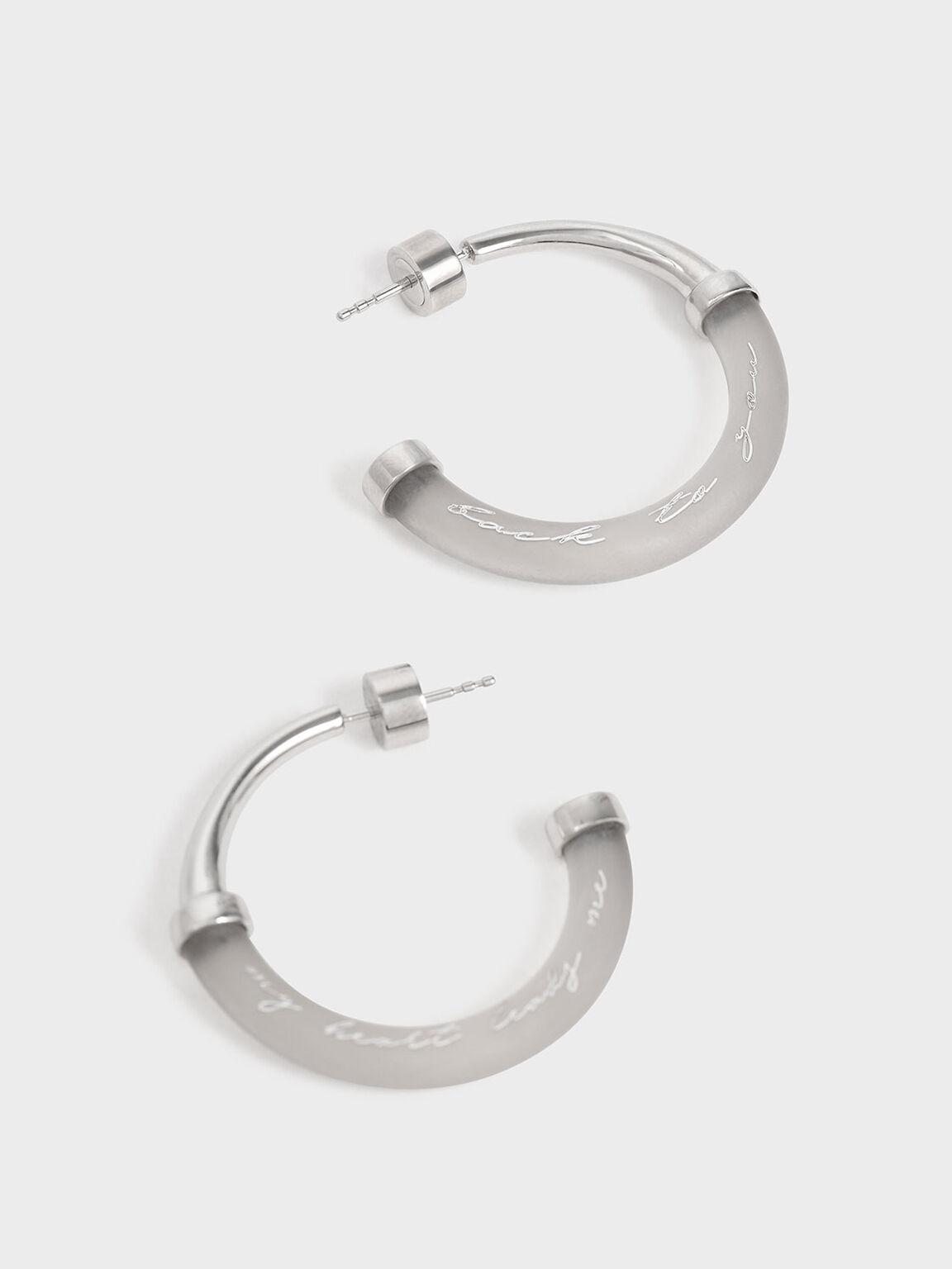 """My Heart Leads Me Back To You"" Printed Hoop Earrings, Silver, hi-res"