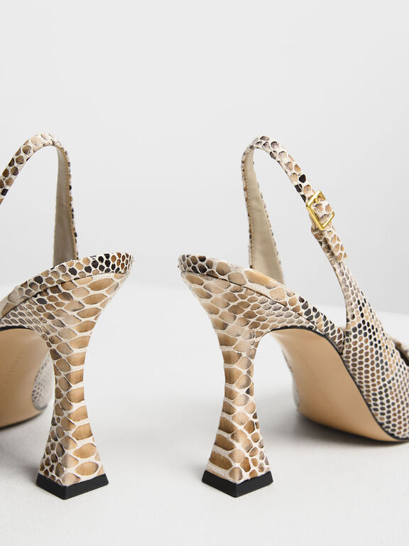 Snake Print Sculptural Heel Slingback Pumps, Pink, hi-res