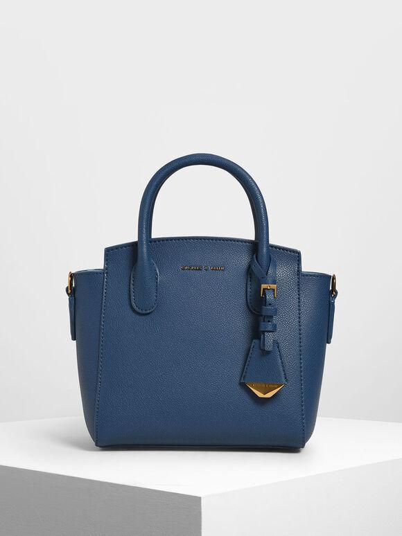 Classic Double Top Handle Bag, Dark Blue, hi-res