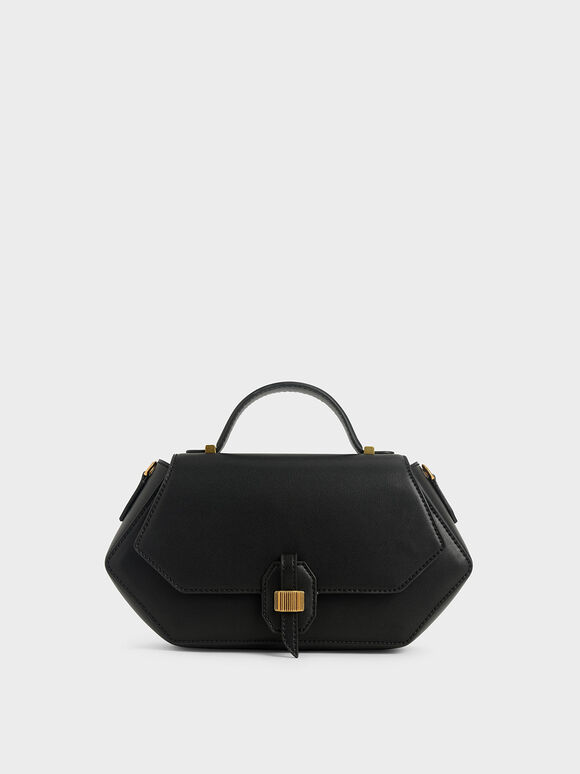 Top Handle Geometric Bag, Black, hi-res