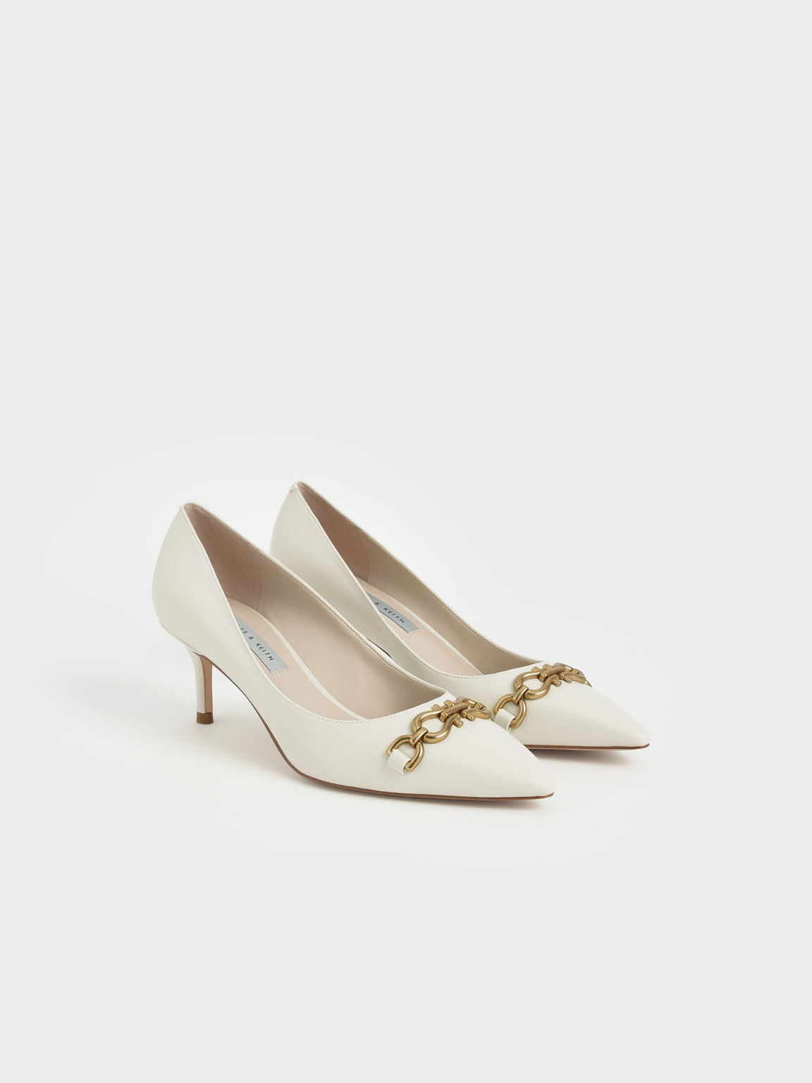 Chain Link Pointed Toe Pumps, Chalk, hi-res