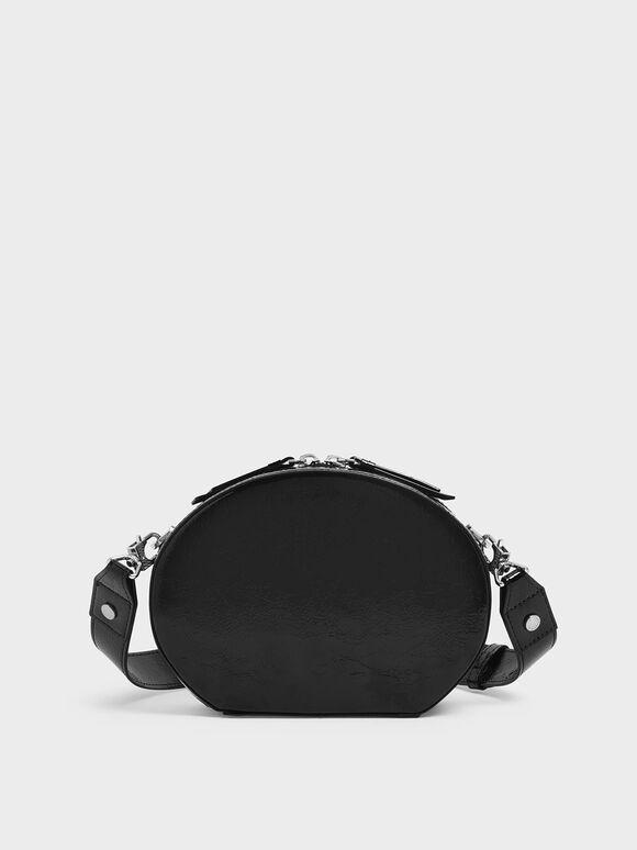 Wrinkled Patent Oval Crossbody Bag, Black, hi-res