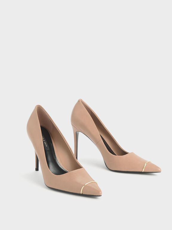 Metallic Accent Pointed Toe Stiletto Pumps, Nude, hi-res
