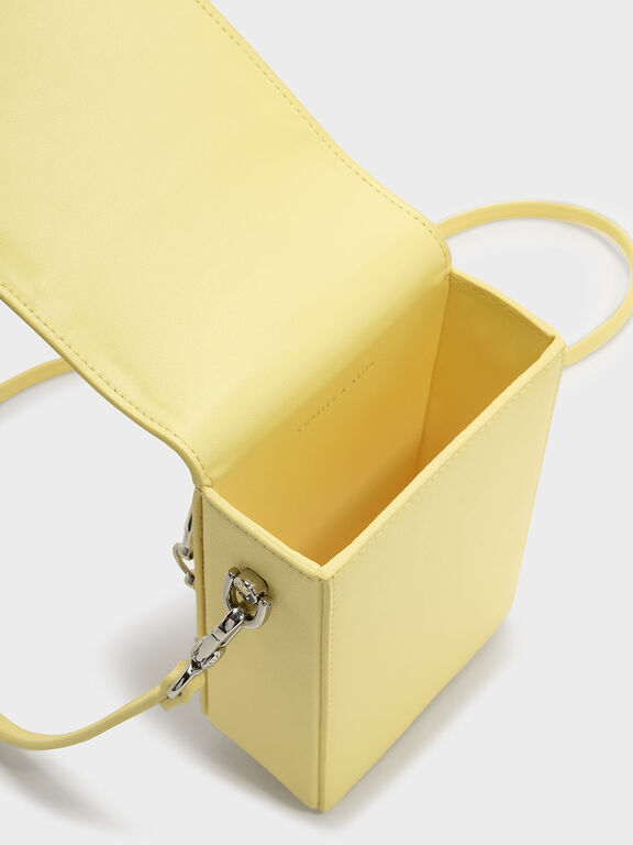 Circular Handle Clutch, Yellow, hi-res