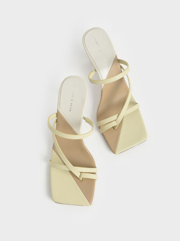 Strappy Toe Ring Sandals, Yellow, hi-res