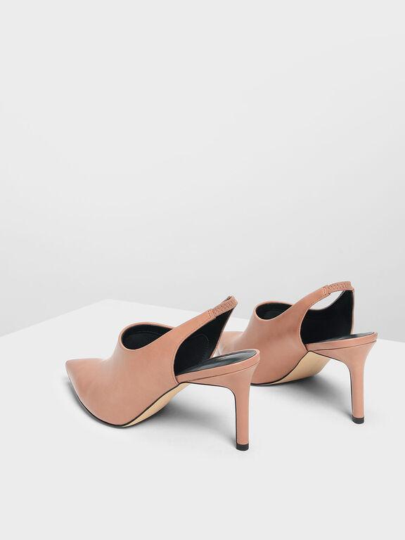 Slingback Pointed Heels, Nude, hi-res