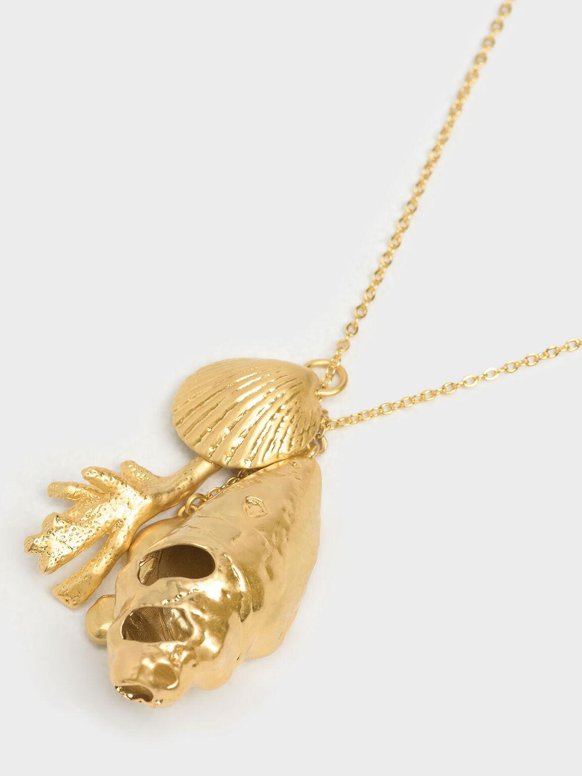 Seashell Pendant Necklace, Gold, hi-res