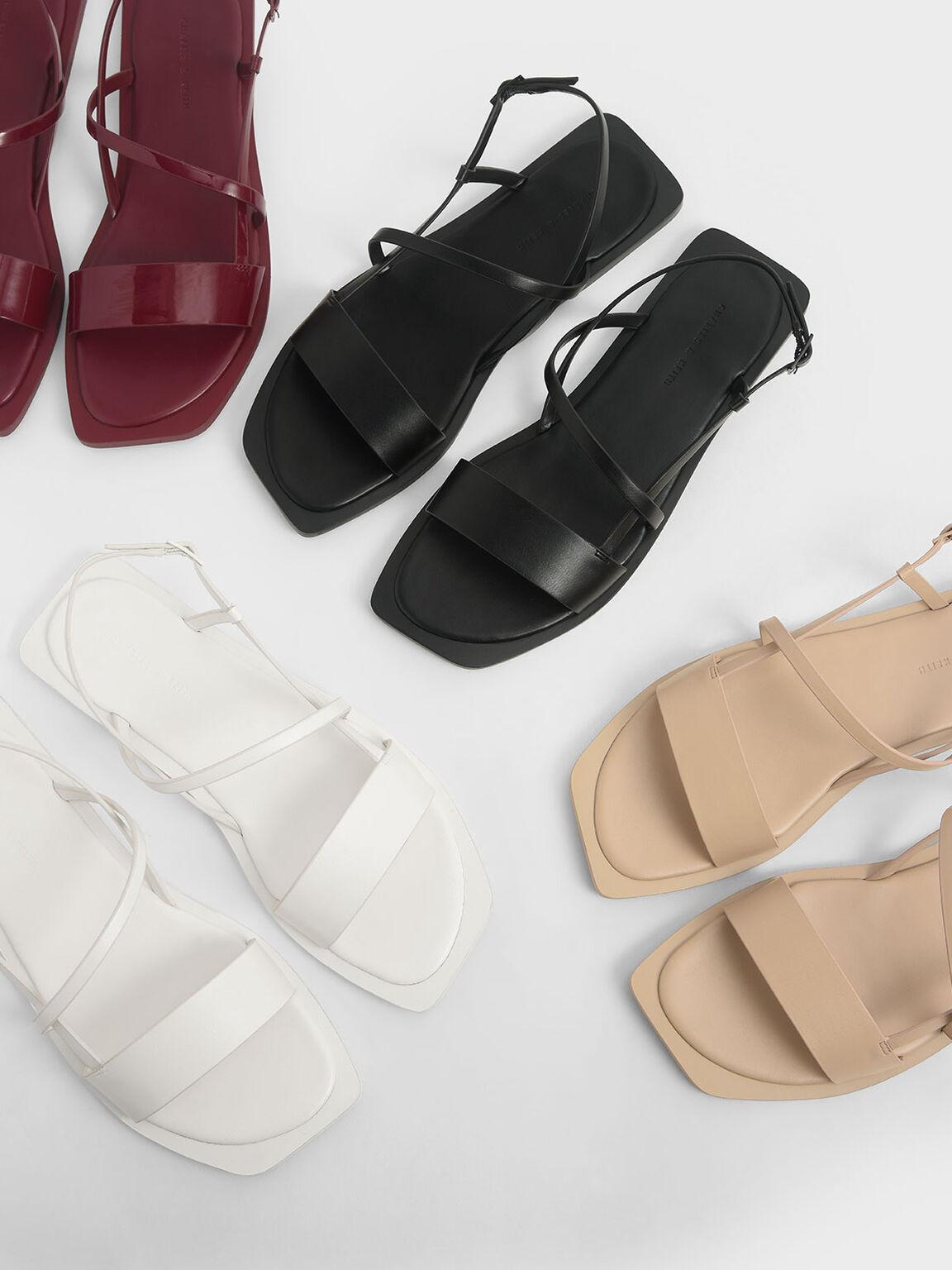 Asymmetric Strap Slingback Sandals, Black, hi-res