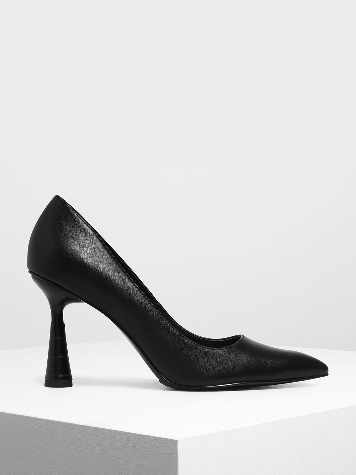 Sculptural Heel Pointed Toe Pumps, Black, hi-res