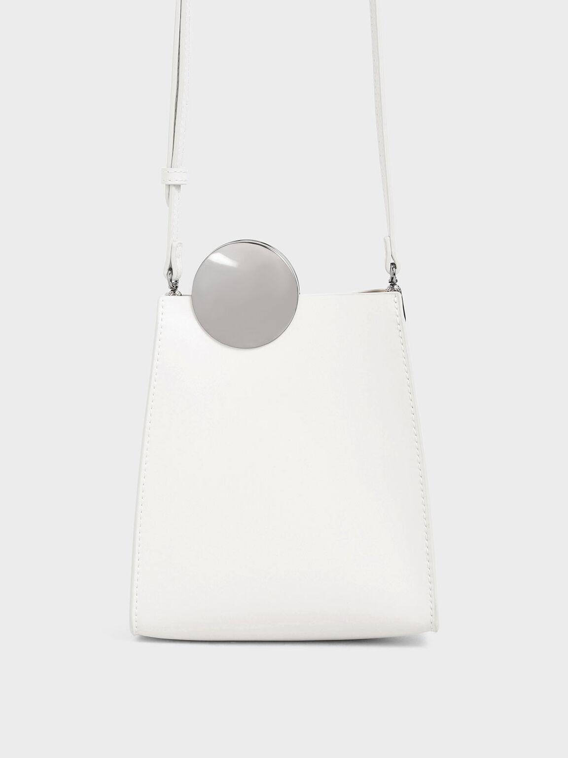 Chrome Detail Leather Crossbody Bag, White, hi-res