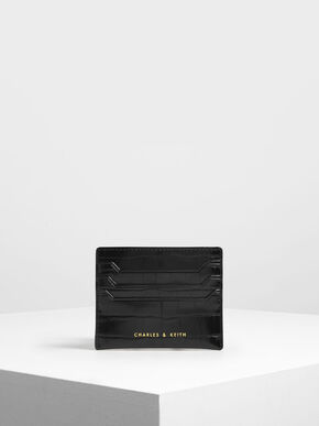 Croc-Effect Card Holder, Black