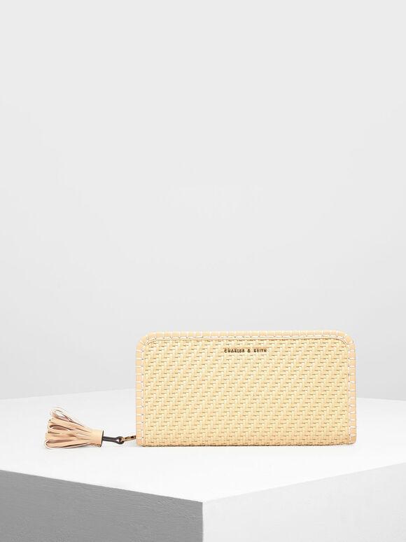 Woven Tassel Zip Around Wallet, Yellow, hi-res