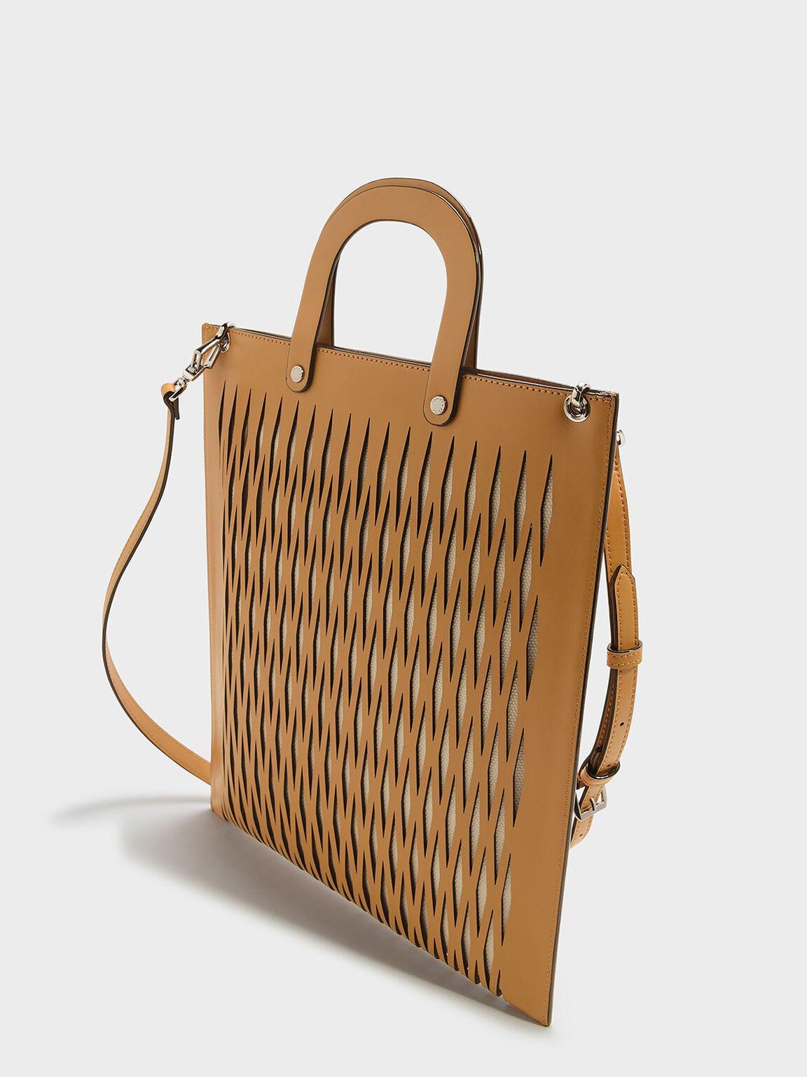 Laser Cut Detail Tote Bag, Mustard, hi-res
