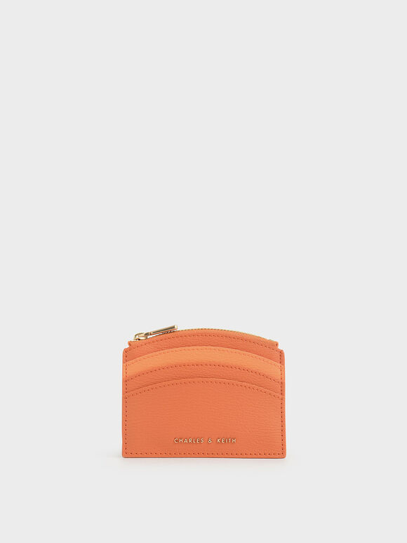 Two-Tone Multi-Slot Zip Card Holder, Orange, hi-res
