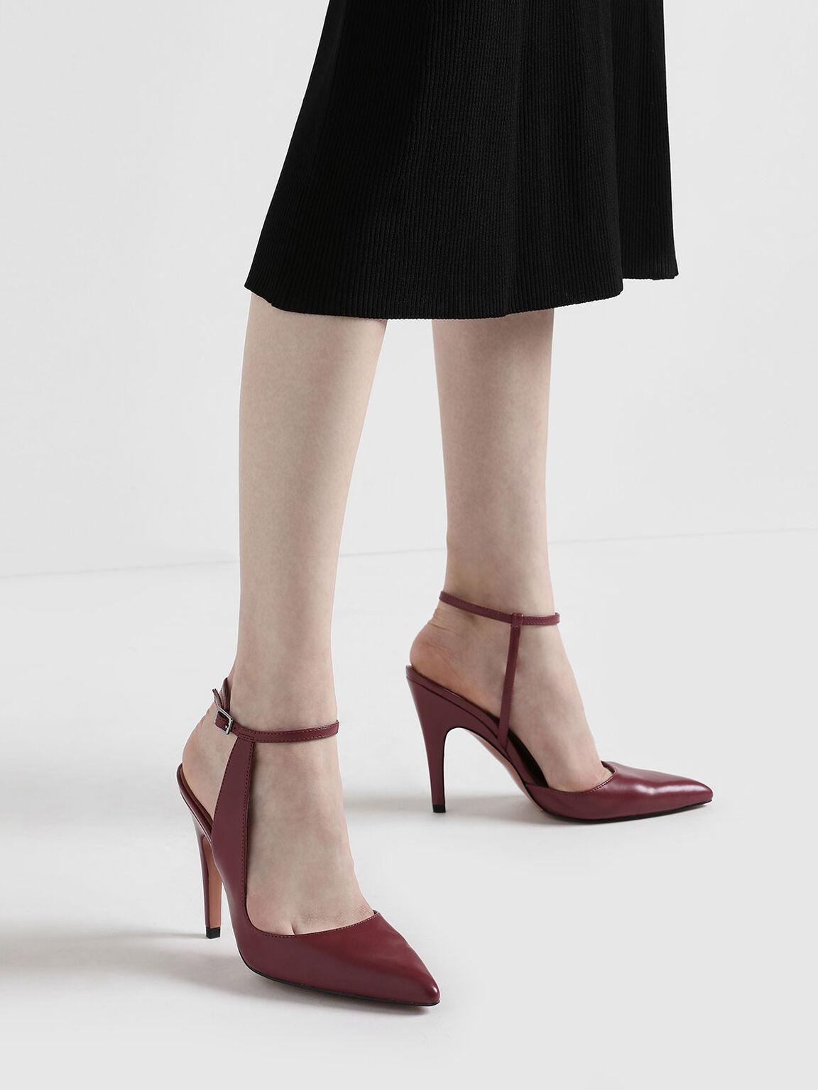 Side Strap Pointed Stiletto Heels, Pink, hi-res