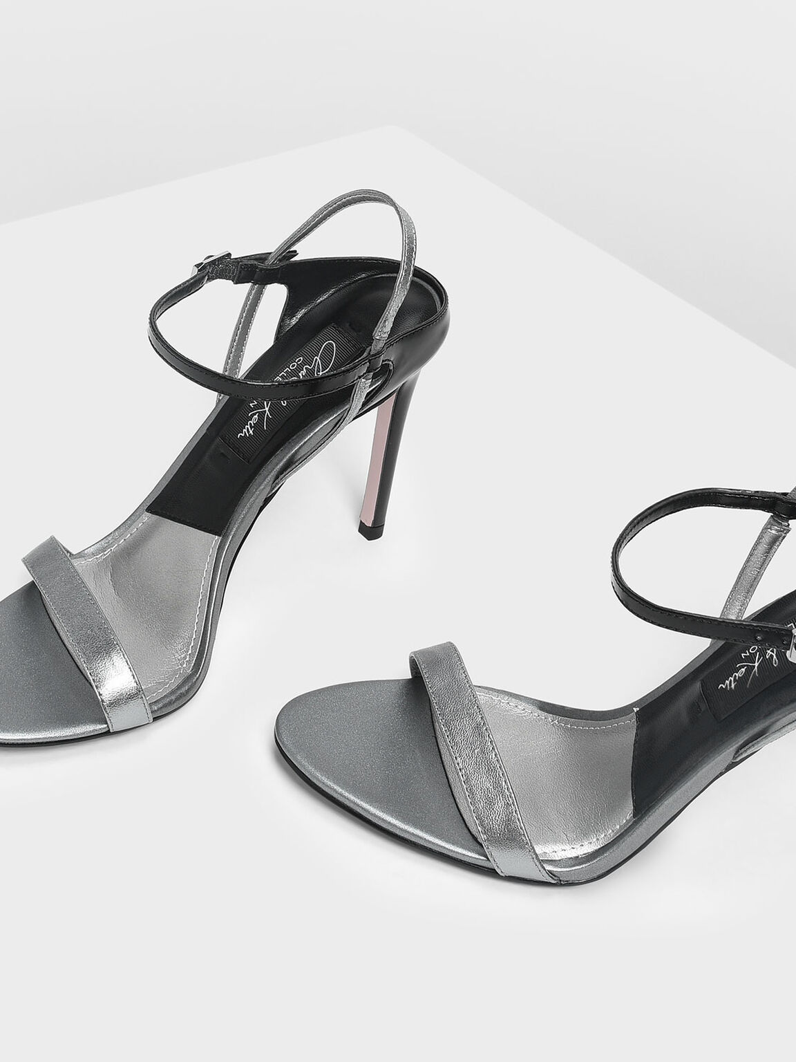 Leather Stiletto Heel Sandals, Pewter, hi-res