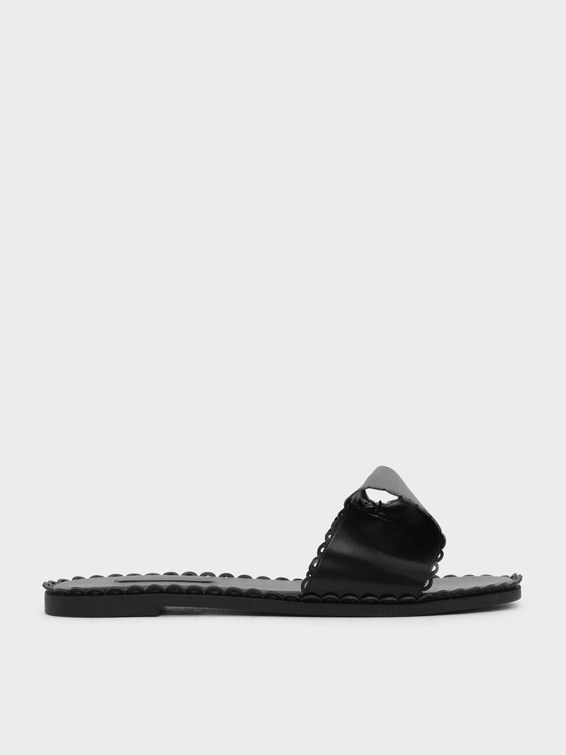 Twist Strap Sliders, Black, hi-res