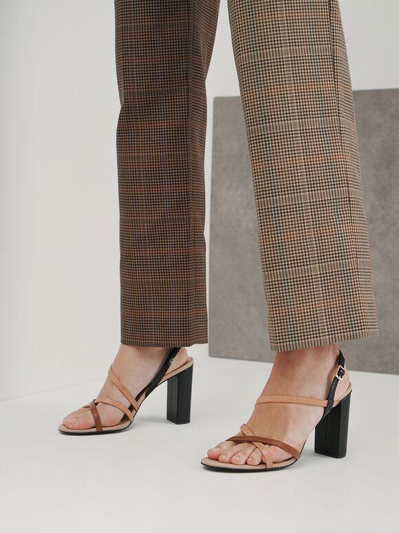 Snake Print Slingback Heeled Sandals, Multi, hi-res