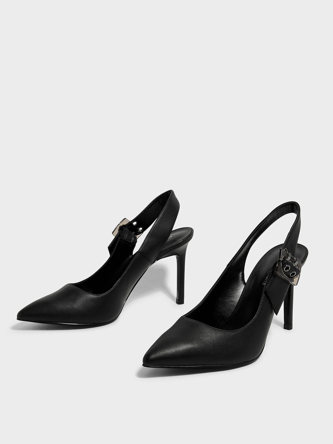 Oversized Buckle Slingbacks, Black, hi-res