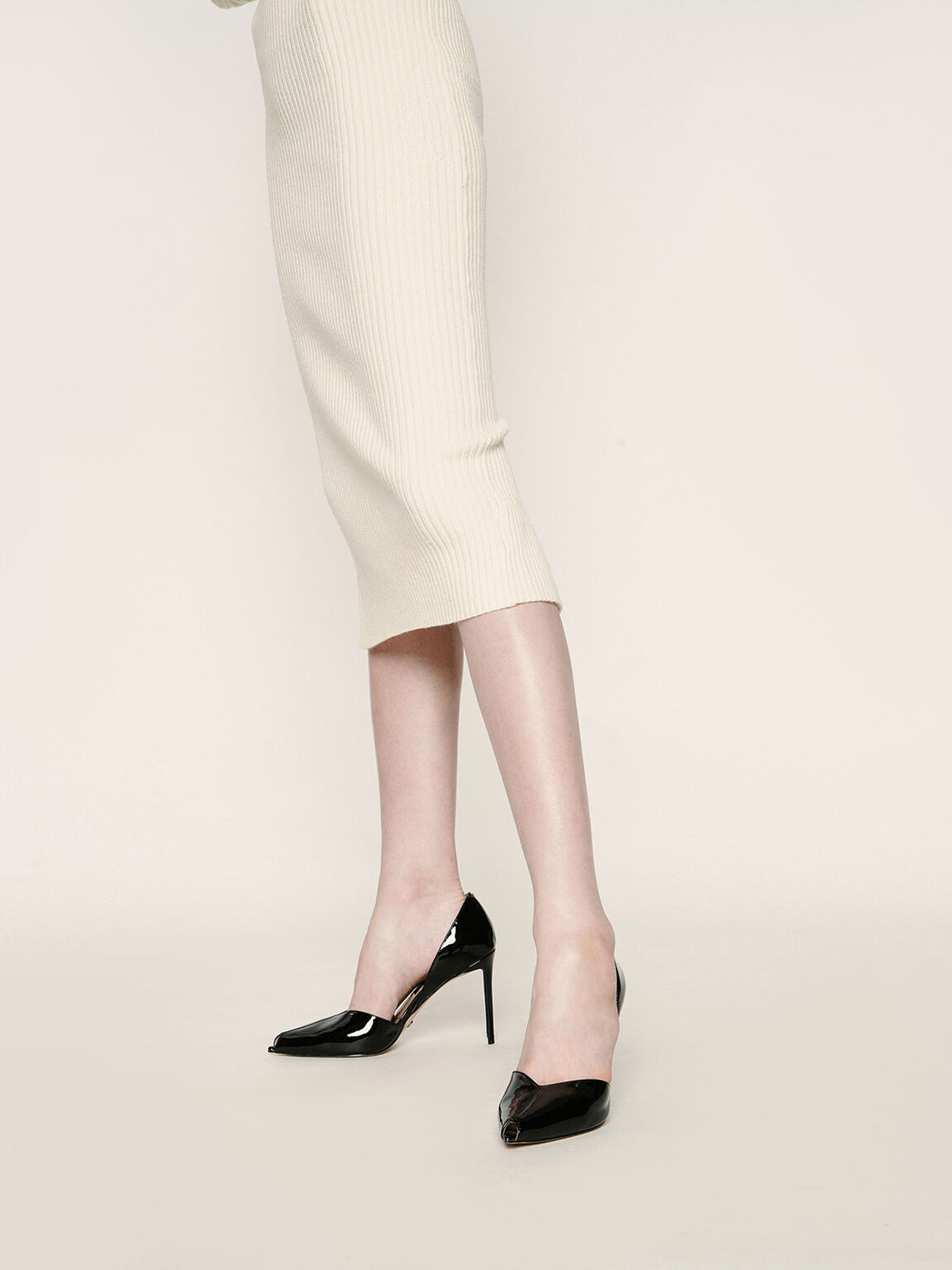 Leather Peep-Toe D'Orsay Pumps, Black, hi-res