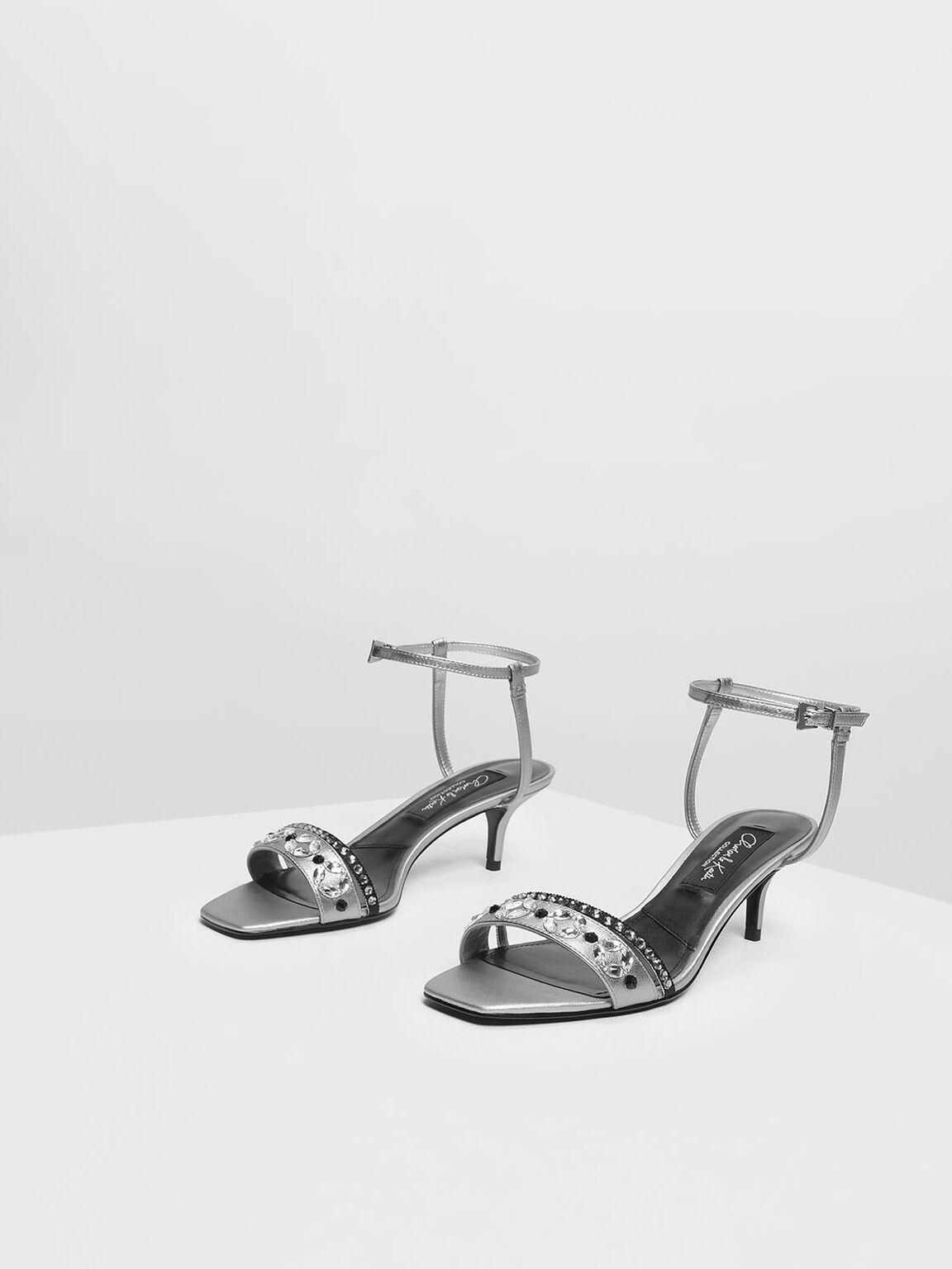 Leather Bedazzled Kitten Heel Sandals, Silver, hi-res