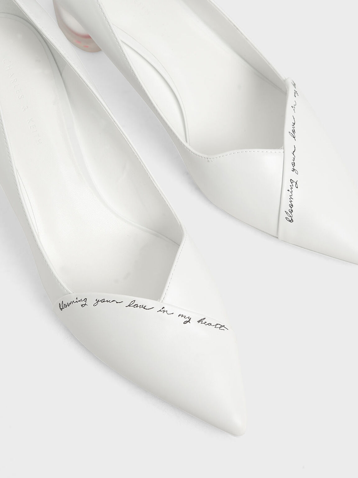 Embroidered Lucite Sculptural Heel Pumps, White, hi-res