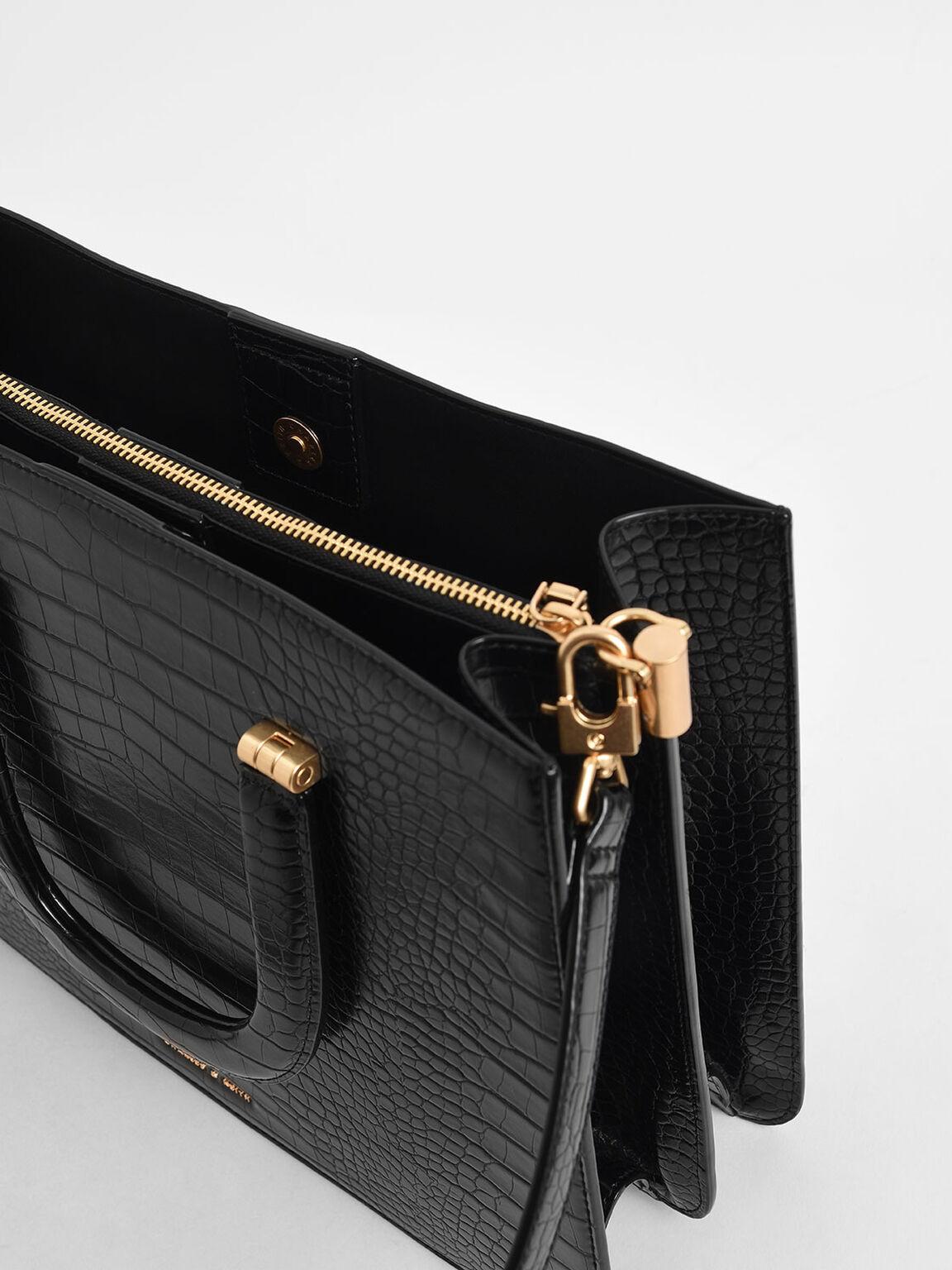 鱷魚紋信封手提包, 黑色, hi-res