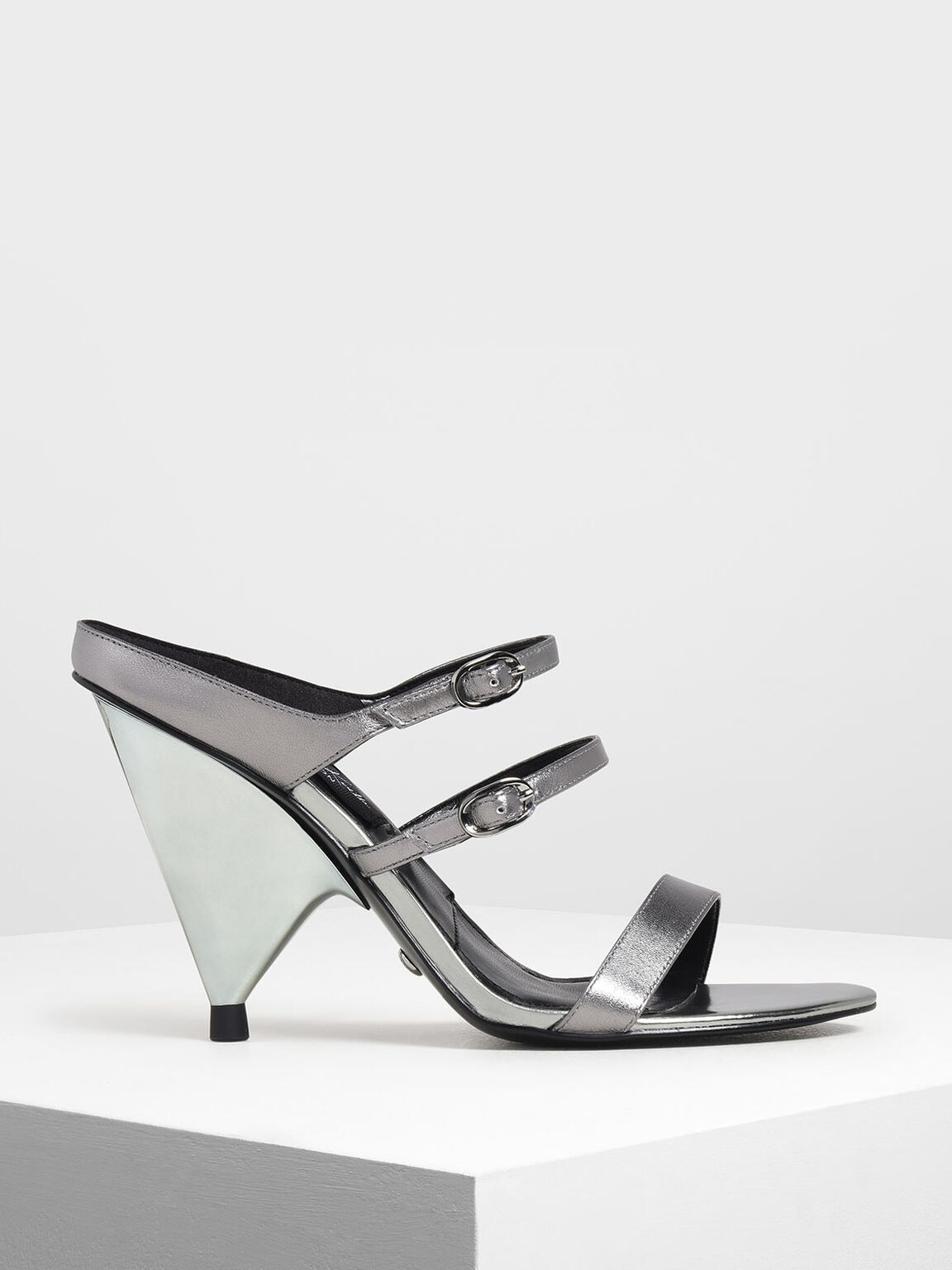 Leather Double Strap Mary Jane Cone Heels, Silver, hi-res