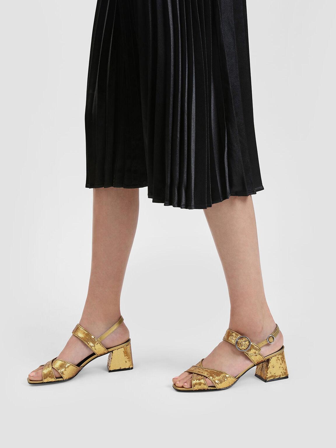Sequin Detail Heeled Sandals, Gold, hi-res