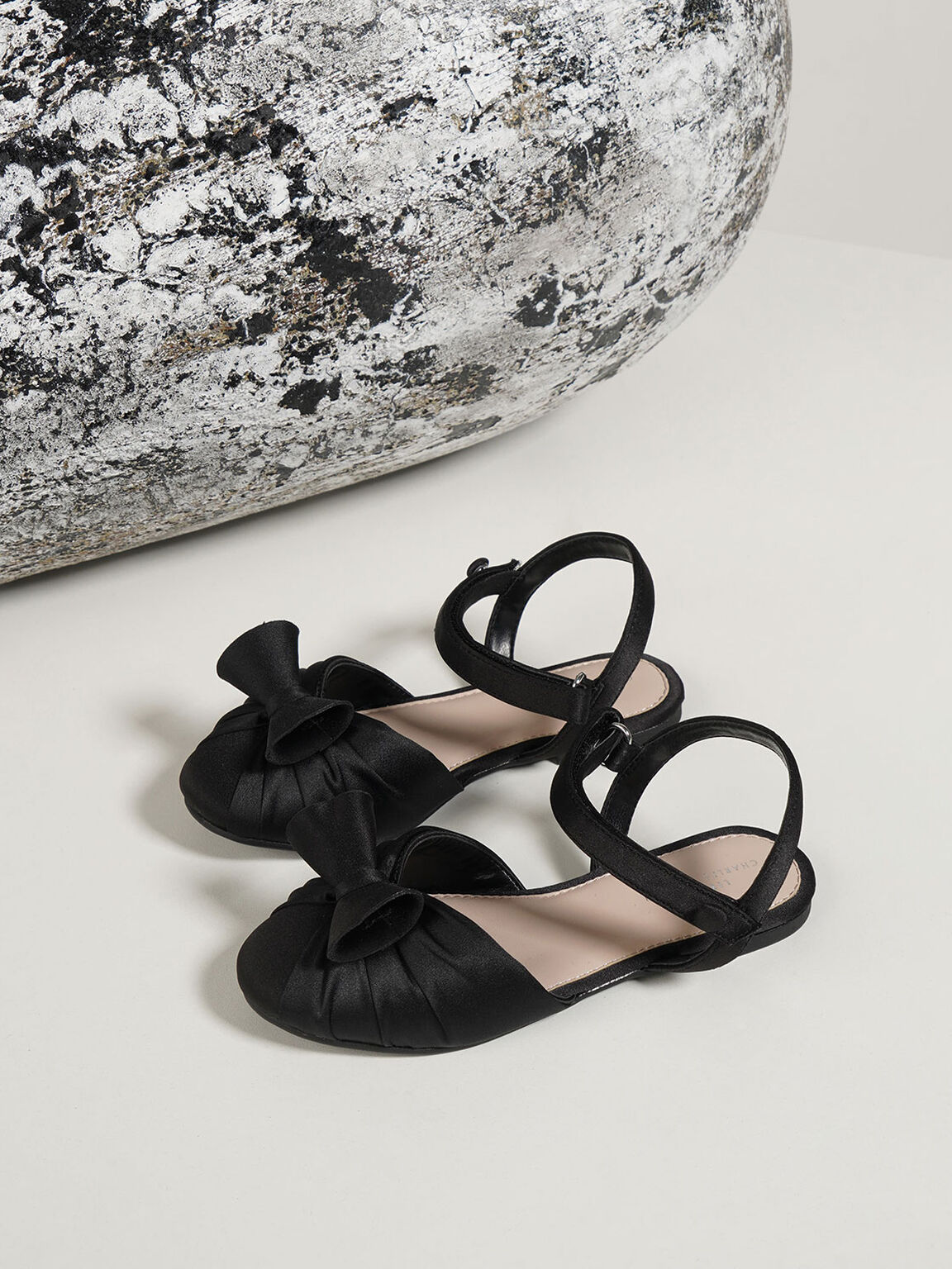 Girls' Satin Flats, Black, hi-res