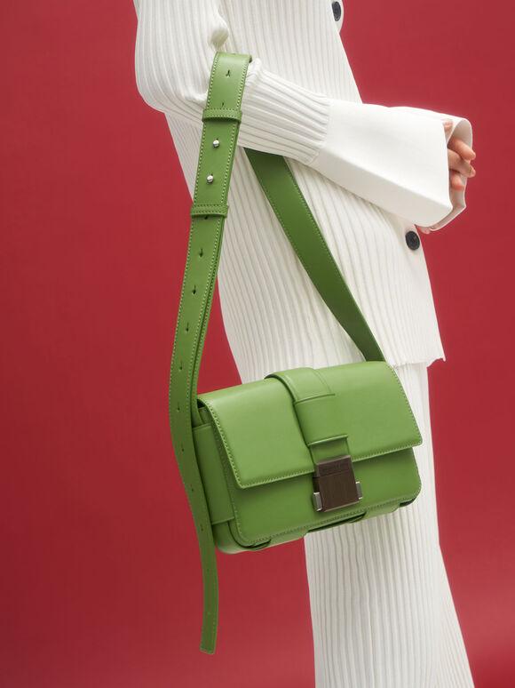 Front Flap Push Lock Crossbody Bag, Green, hi-res