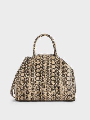 Large Snake Print Dome Bag, Beige