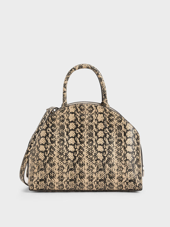 Large Snake Print Dome Bag, Beige, hi-res