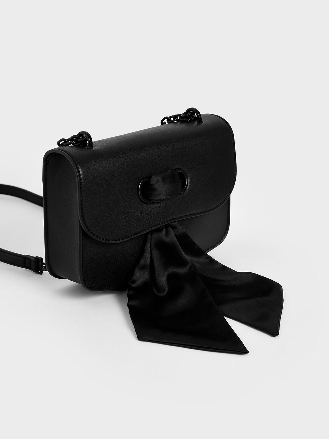 Satin Scarf Double Strap Shoulder Bag, Ultra-Matte Black, hi-res