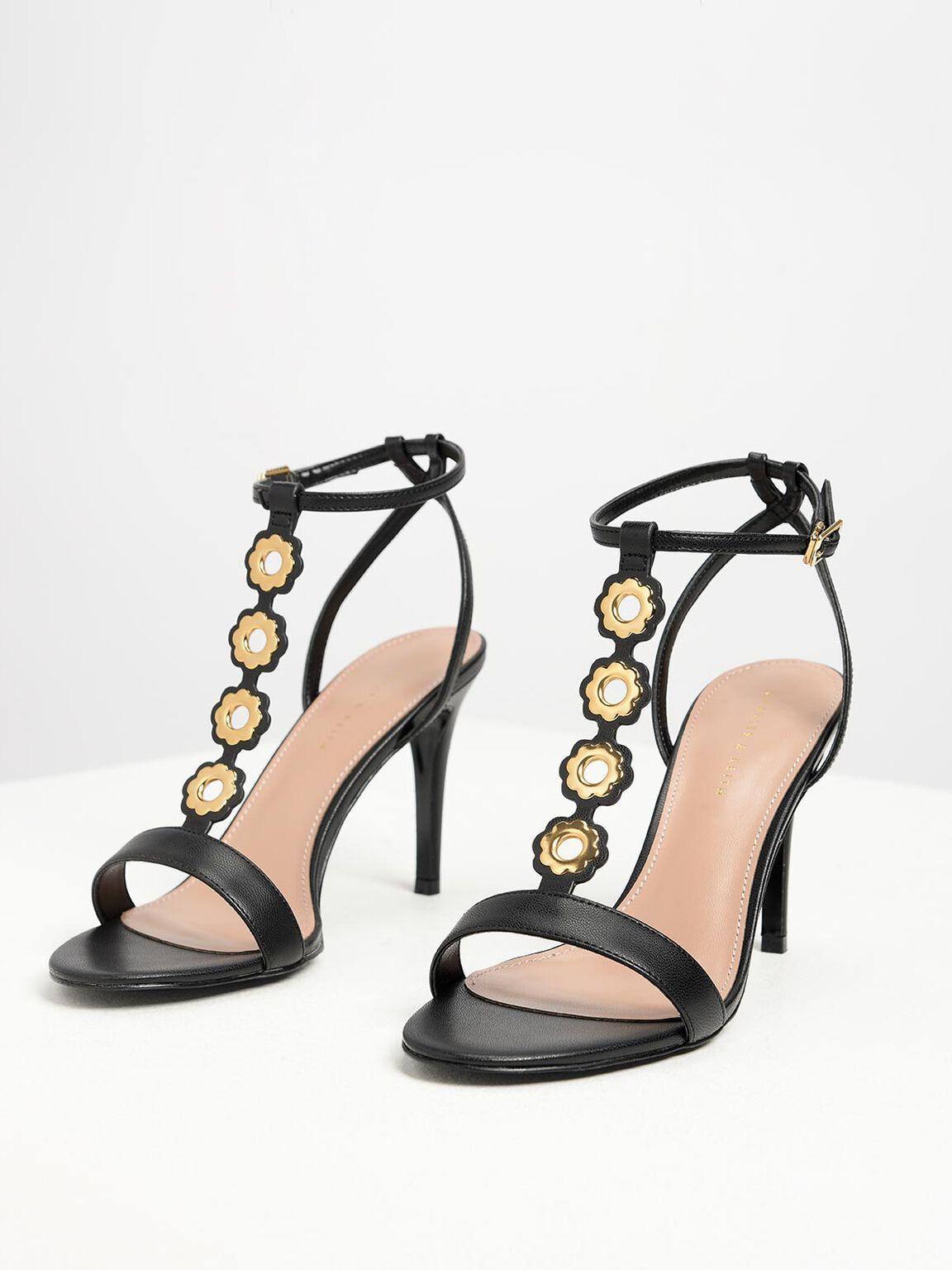 Floral Eyelet Heels, Black, hi-res