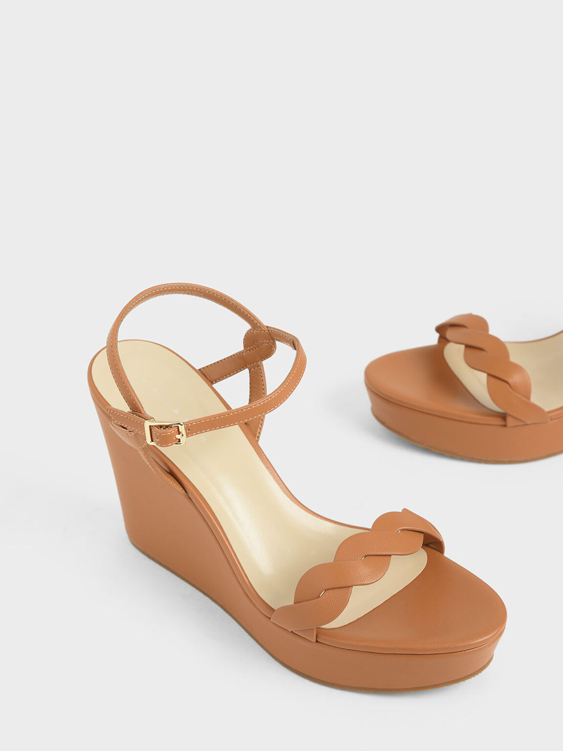Twist Strap Platform Wedges, Brown, hi-res