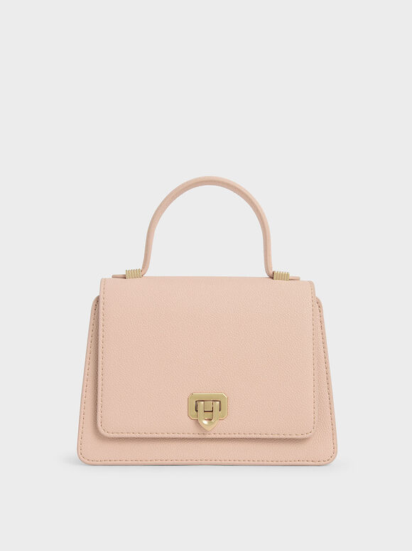 Metallic Push-Lock Top Handle Bag, Nude, hi-res