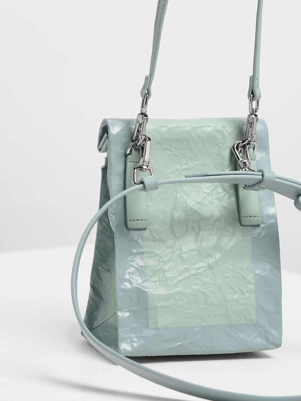 Paper Bag Clutch, Mint Green, hi-res