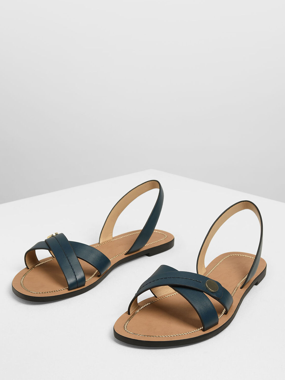 Button Detail Criss Cross Sandals, Teal, hi-res