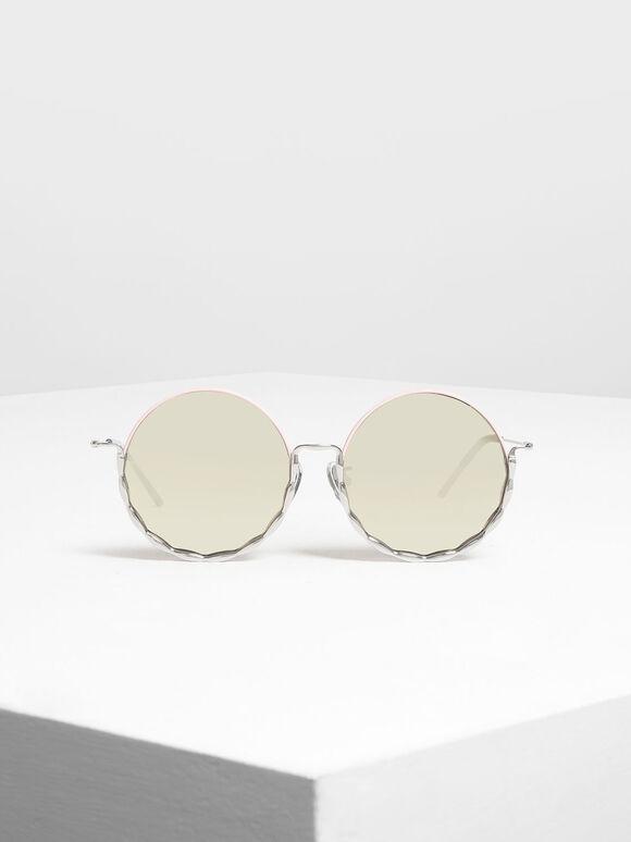 Half Frame Round Sunglasses, Pink, hi-res