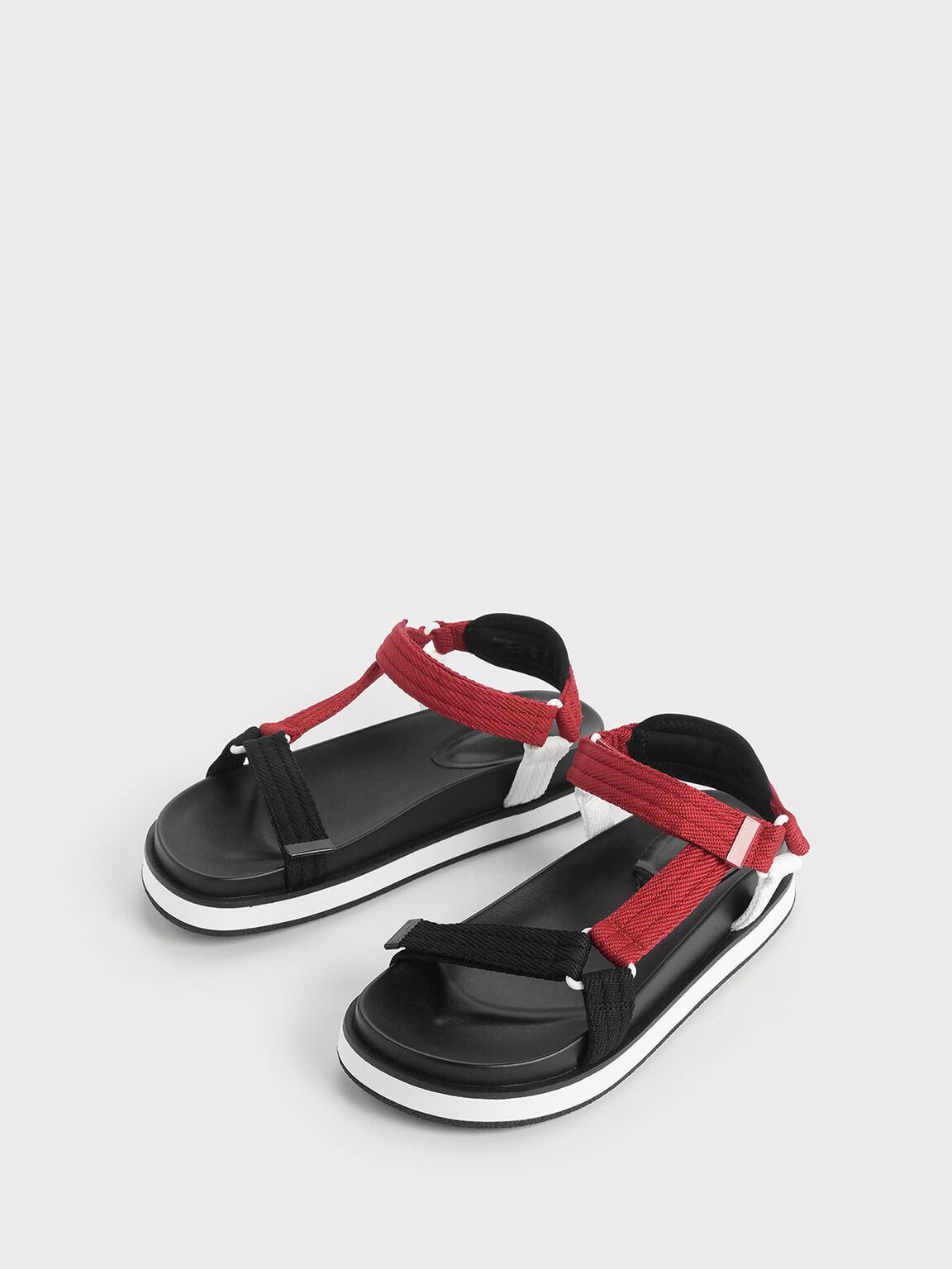 Two-Tone Strap Sandals, Red, hi-res
