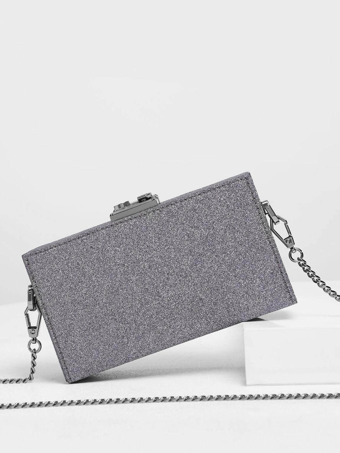 Glitter Boxy Clutch, Purple, hi-res