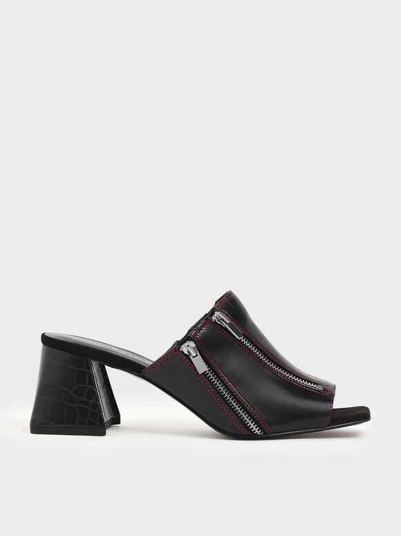 Croc-Effect Wrinkled Patent Zip Detail Slide Sandals, Black, hi-res