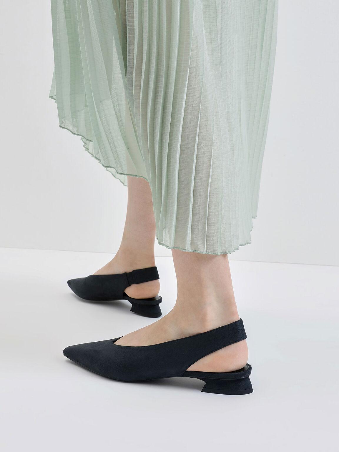 Textured Mini Square Toe Slingback Flats, Dark Green, hi-res