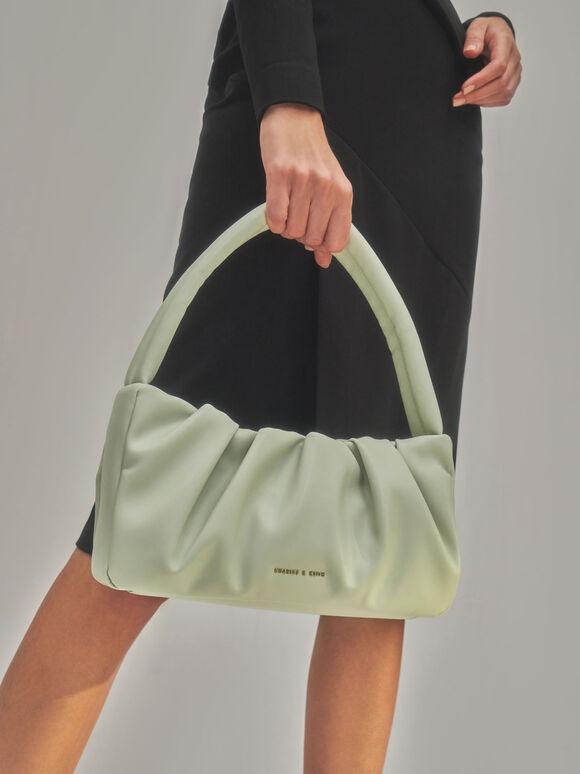 Ruched Top Handle Bag, Sage Green, hi-res