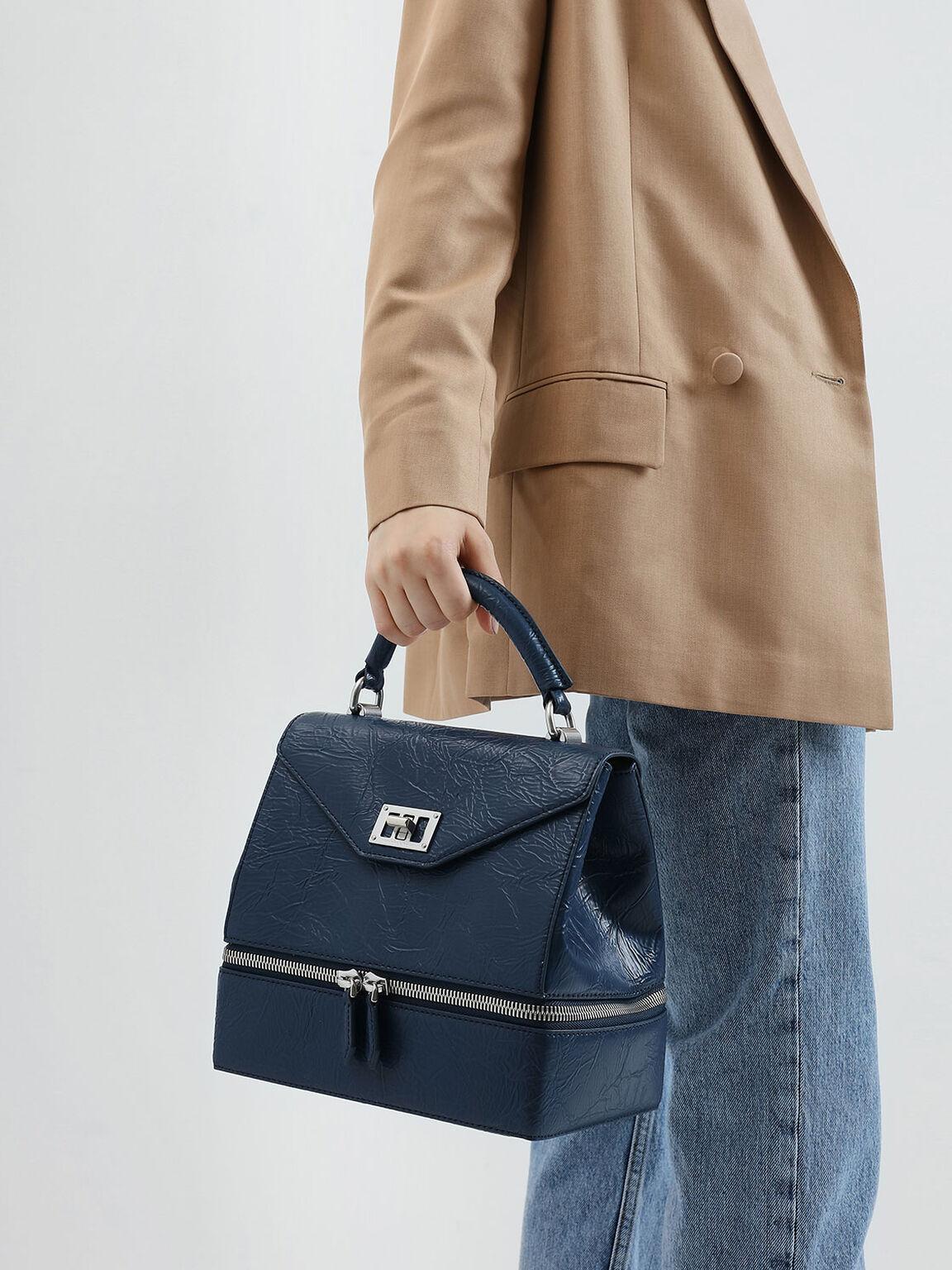 Wrinkled Effect Two-Way Zip Top Handle Bag, Blue, hi-res