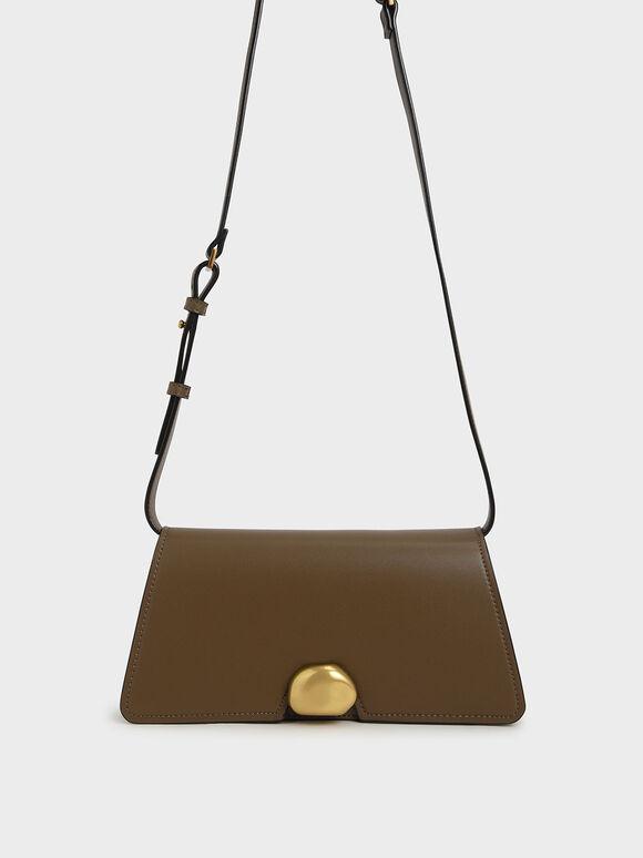 Metallic Accent Trapeze Shoulder Bag, Khaki, hi-res