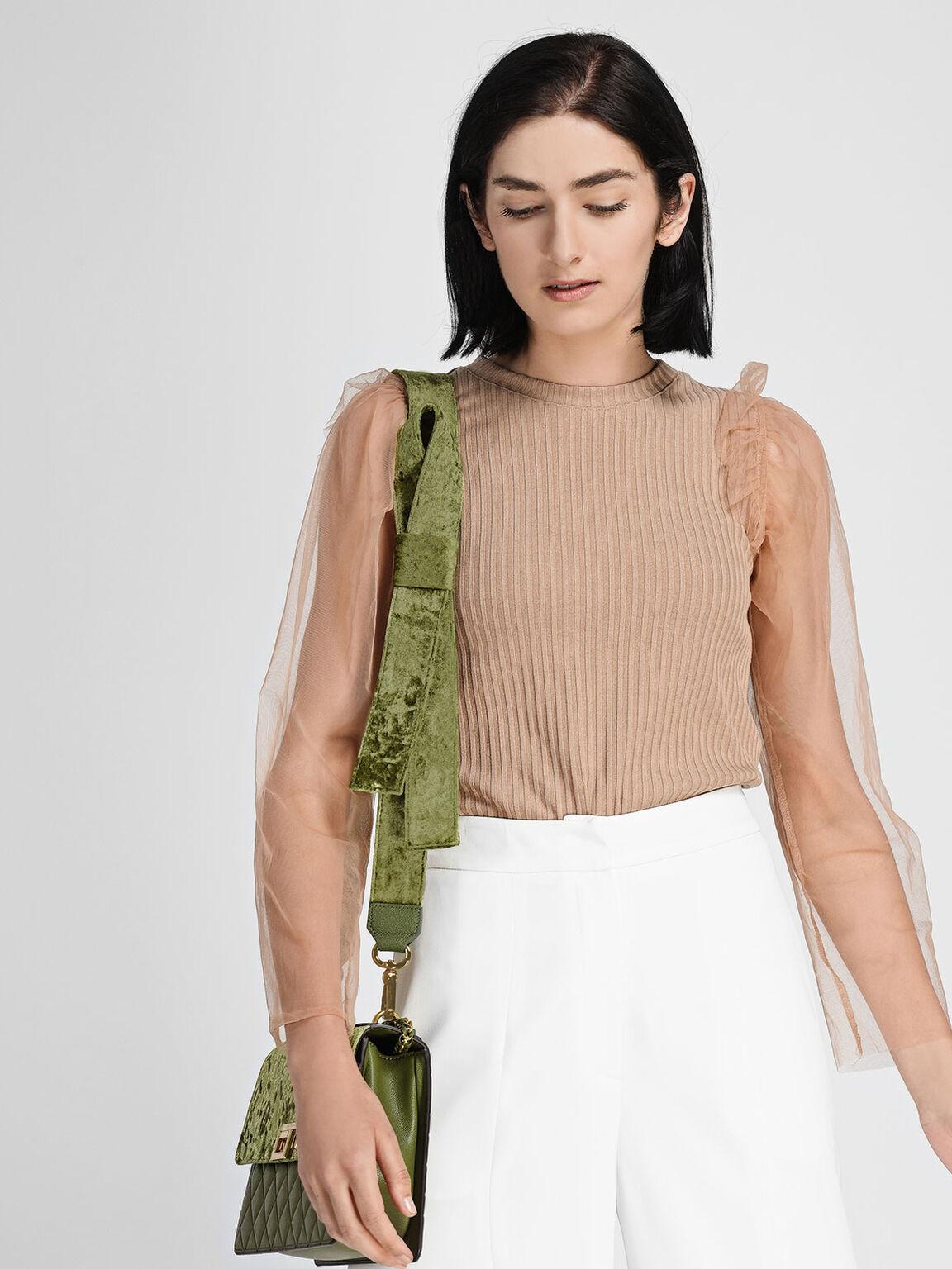 Velvet Knot Bag Strap, Green, hi-res