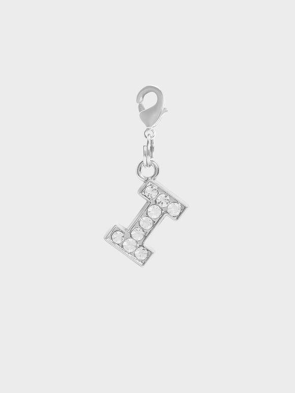 Crystal Embellished Alphabet Charm - I, Silver, hi-res